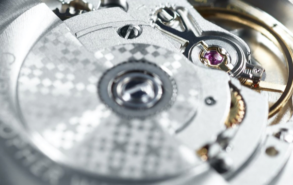 a closeup of Christopher Ward watch's movement